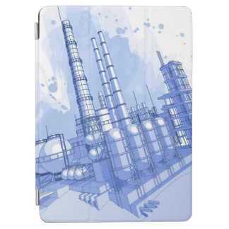 Chemical plant & watercolor background iPad air cover
