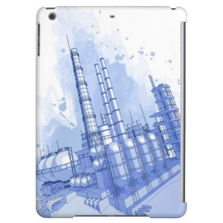 Chemical plant & watercolor background iPad air covers