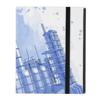 Chemical plant & watercolor background iPad case