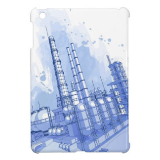 Chemical plant & watercolor background iPad mini covers