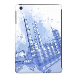 Chemical plant & watercolor background iPad mini retina case