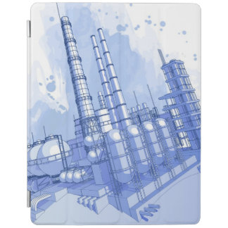 Chemical plant & watercolor background iPad smart cover