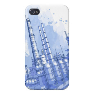 Chemical plant & watercolor background iPhone 4 case