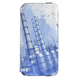 Chemical plant & watercolor background iPhone 6/6s wallet case