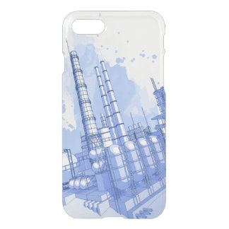 Chemical plant & watercolor background iPhone 7 case