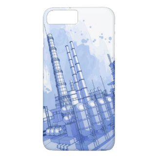 Chemical plant & watercolor background iPhone 7 plus case