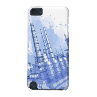 Chemical plant & watercolor background iPod touch (5th generation) case