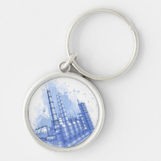 Chemical plant & watercolor background keychain