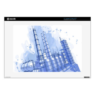 Chemical plant & watercolor background laptop skins