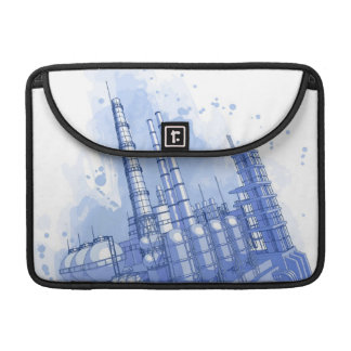 Chemical plant & watercolor background MacBook pro sleeve