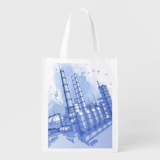 Chemical plant & watercolor background market tote