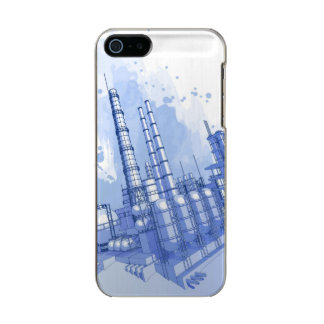 Chemical plant & watercolor background metallic phone case for iPhone SE/5/5s