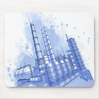 Chemical plant & watercolor background mouse pad