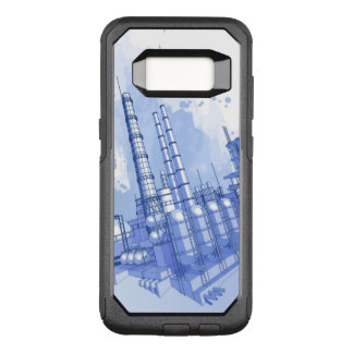 Chemical plant & watercolor background OtterBox commuter samsung galaxy s8 case