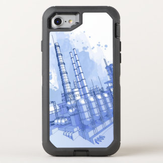 Chemical plant & watercolor background OtterBox defender iPhone 7 case