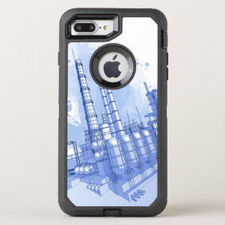 Chemical plant & watercolor background OtterBox defender iPhone 7 plus case