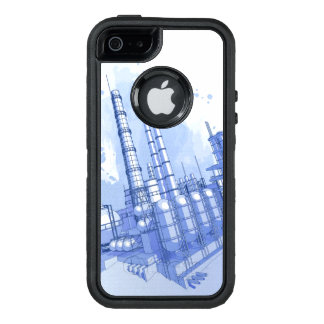 Chemical plant & watercolor background OtterBox defender iPhone case