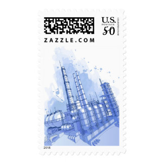 Chemical plant & watercolor background postage