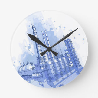 Chemical plant & watercolor background round clock
