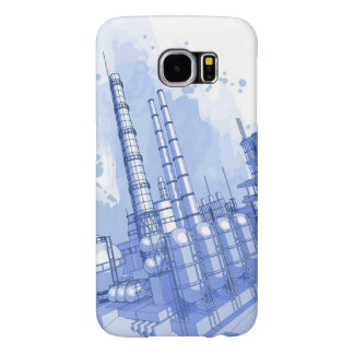 Chemical plant & watercolor background samsung galaxy s6 case