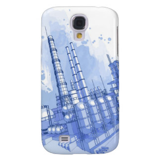 Chemical plant & watercolor background samsung s4 case