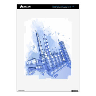 Chemical plant & watercolor background skin for iPad 3