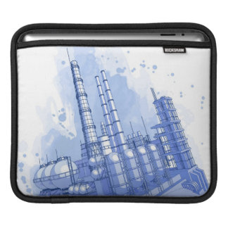 Chemical plant & watercolor background sleeve for iPads