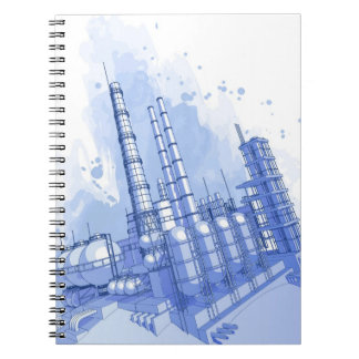 Chemical plant & watercolor background spiral notebook