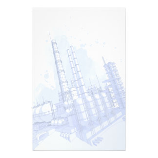 Chemical plant & watercolor background stationery