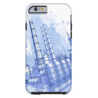 Chemical plant & watercolor background tough iPhone 6 case