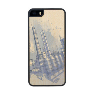 Chemical plant & watercolor background wood iPhone SE/5/5s case