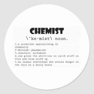 Chemist Definition Classic Round Sticker