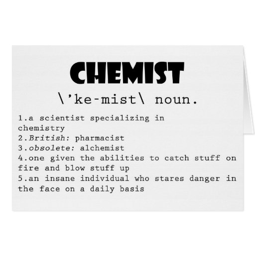 Chemist Definition Greeting Cards
