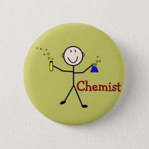 Chemist Gifts-Stick Person With Test Tubes Pinback Button