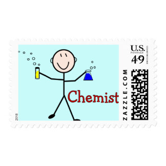 Chemist Gifts-Stick Person With Test Tubes Postage