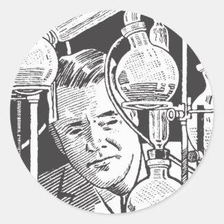 Chemist in Black and White Classic Round Sticker