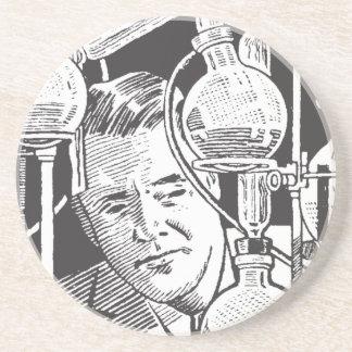 Chemist in Black and White Sandstone Coaster