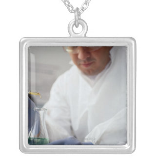 Chemist Measuring Drops into a Flask Silver Plated Necklace
