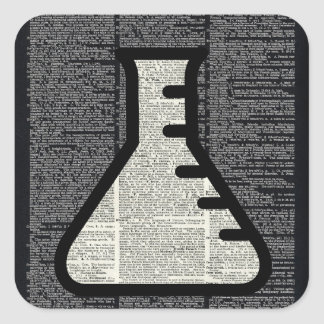 Chemistry Alchemy Vial on Dictionary page Square Sticker