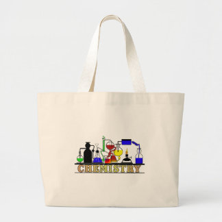 CHEMISTRY BEAKERS AND FLASKS LOGO LARGE TOTE BAG