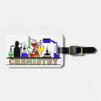 CHEMISTRY BEAKERS AND FLASKS LOGO LUGGAGE TAG