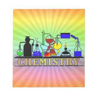 CHEMISTRY BEAKERS AND FLASKS LOGO NOTEPAD