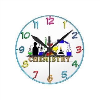 CHEMISTRY BEAKERS AND FLASKS LOGO ROUND CLOCK