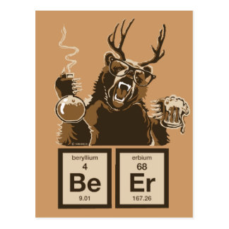 Chemistry bear discovered beer postcard