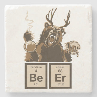Chemistry bear discovered beer stone coaster