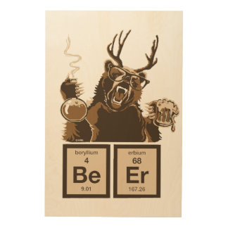 Chemistry bear discovered beer wood wall art