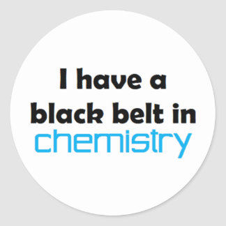 Chemistry black belt classic round sticker