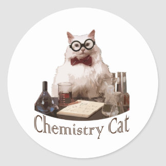 Chemistry Cat (from 9gag memes reddit) Classic Round Sticker