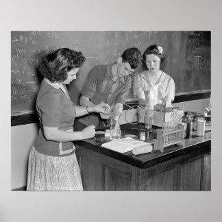 Chemistry Class, 1943. Vintage Photo Poster