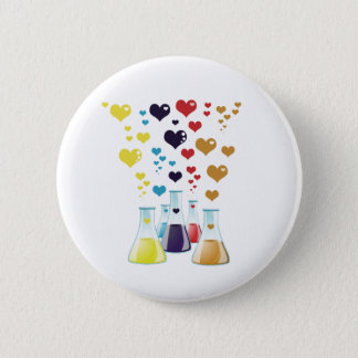 Chemistry Flask, Hearts - Red Blue Yellow Purple Button